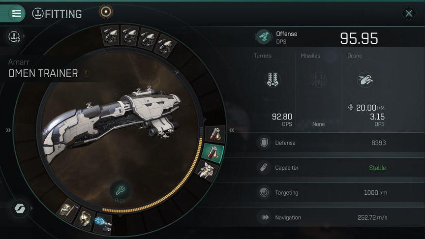 Eve Echoes Omen рекомендуемая оснастка корабля (fit)