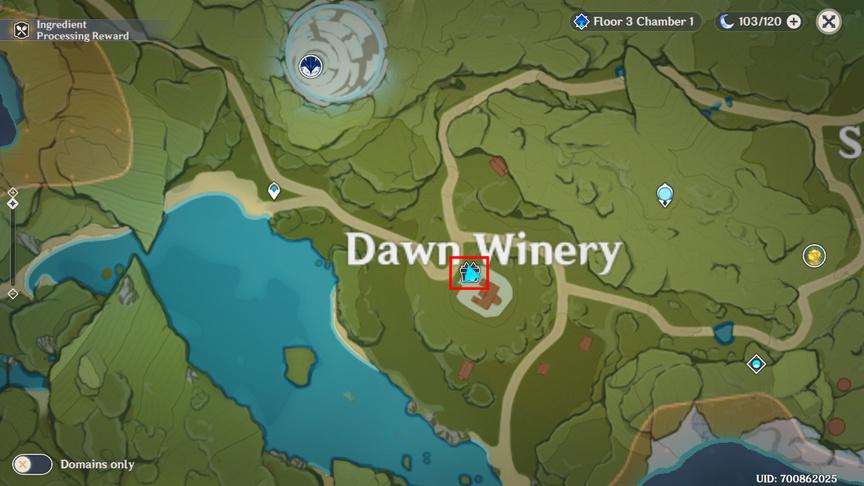 Genshin Impact 3 день, Местонахождение торговца у винокурни «Рассвет»