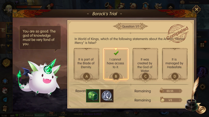 In World of Kings, which of the following statements about the Artifact